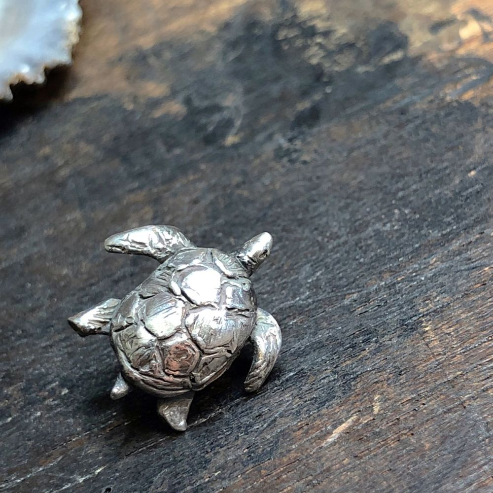 Sea Turtle Pin Brooch Solid Silver One-Of-A-Kind