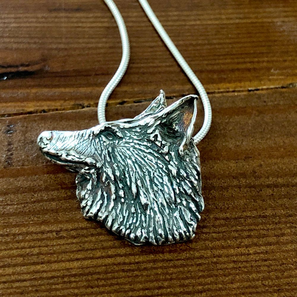 Solid Silver Wolf's Head Pendant - One of a Kind
