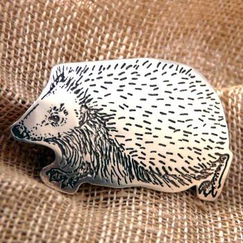 Silver Fuzzypeg Hedgehog Brooch