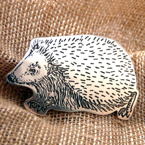 Silver Hedgehog Brooch
