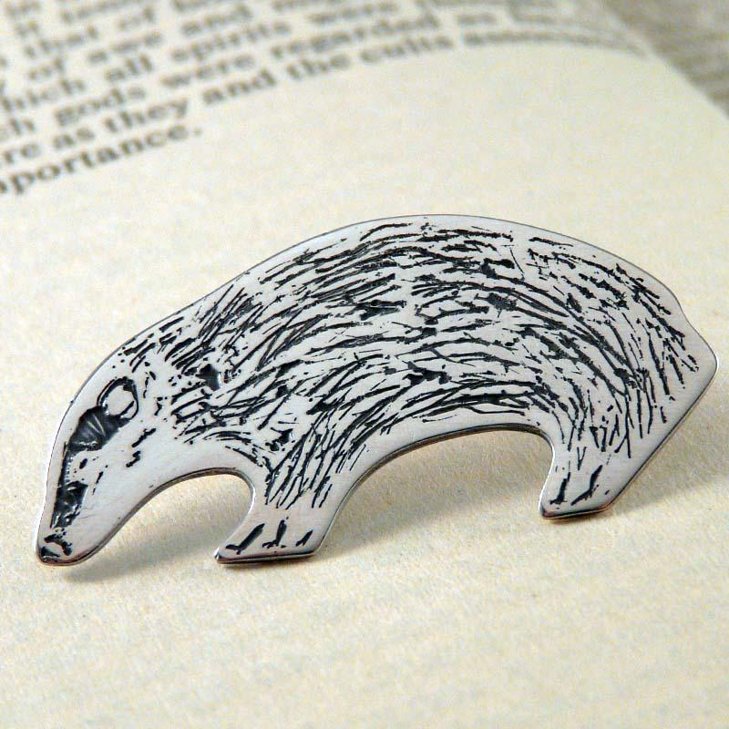 Silver Badger Pin Brooch