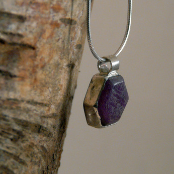 Raw Ruby Crystal and Silver Pendant