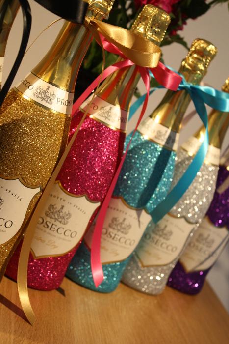 Glitter Prosecco Wine Champagne Glasses And