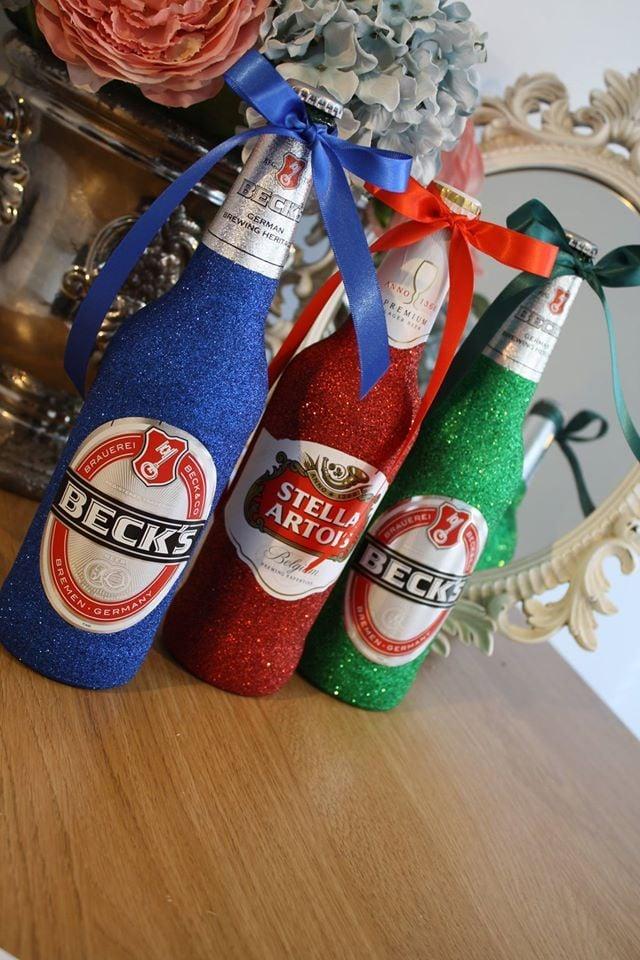 Glittery Large Bottle of Budweiser, Stella Artois, Kronenbourg or Becks