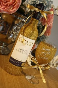 """""""Happy Birthday"""" Standard Wine Glass with LARGE Bottle of Wine, Cava, Prosecco or Champagne"""