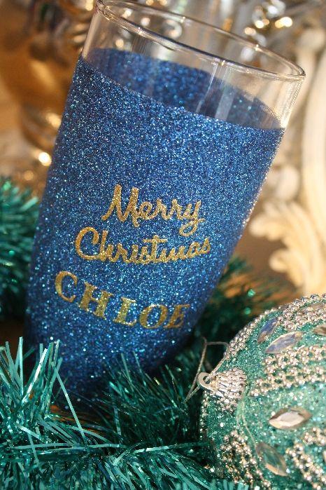 Personalised Merry Christmas Glitter Ball Glass