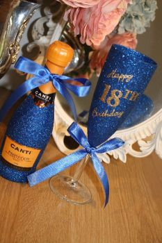 """Happy Birthday"" Champagne Flute with MINI Bottle of Wine, Cava or Prosecco"