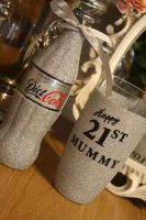 Glittered Coca Cola with Personalised Glitter Ball Glass