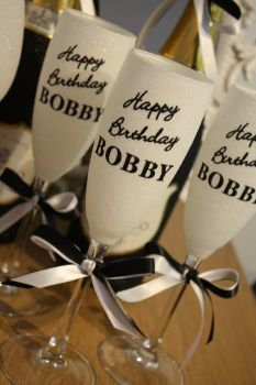 """Happy Birthday Name It"" Champagne Flute"