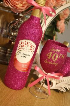 """Happy Birthday"" Standard Wine Glass with LARGE Bottle of Wine, Cava, Prosecco or Champagne"