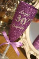 """Full On Glitz """"Happy Birthday"""" Champagne Flute"""