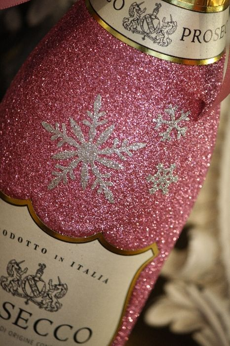 Snowflake Personalised Glitter Ball Glass with a Bottle