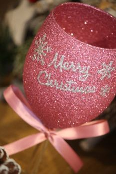 "Snowflake ""Merry Christmas"" Glass"