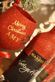 "Classic Luxury Large Personalised ""Merry Christmas"" Glass with a Bottle"