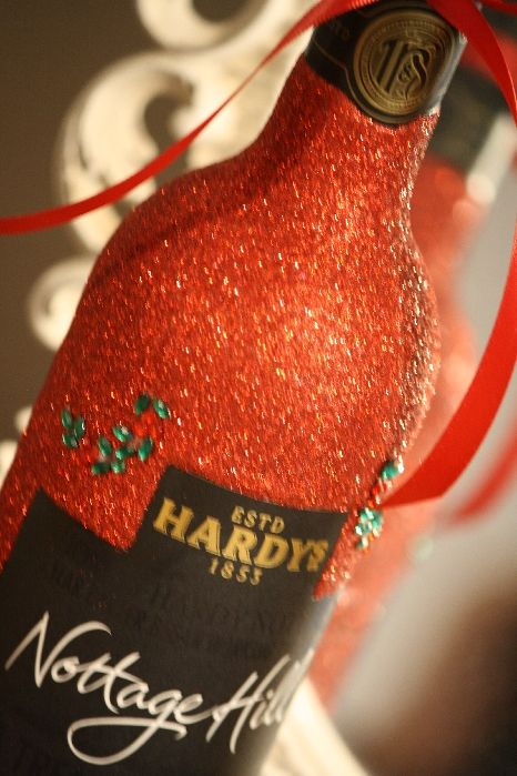 Classic Personalised Glitter Ball Glass with a Bottle