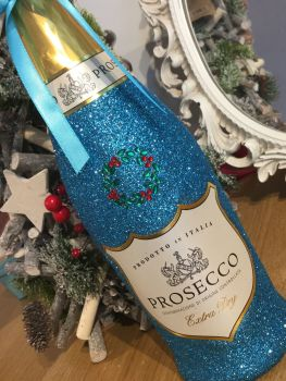 "Classic ""Merry Christmas"" Bottle of Wine or Bubbles"
