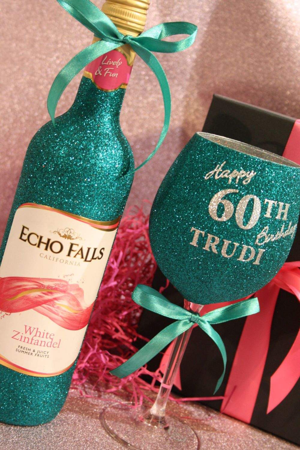 Personalised Wine, Champagne, Prosecco or Cava and Two-Tone Glass Gift Pack
