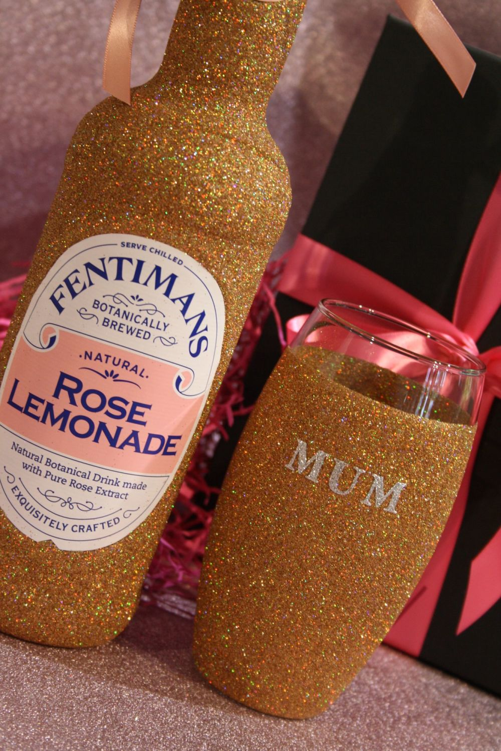 Fentimans Bottle with Personalised Glitter Ball Glass