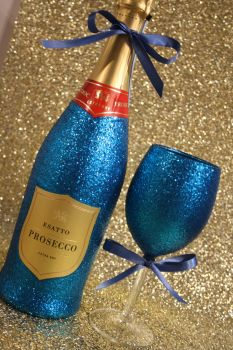 Glittery Wine, Champagne, Prosecco or Cava and One Standard Wine Glasses Gift Pack