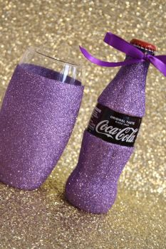 Glittered Coca Cola with Glitter Ball Glass