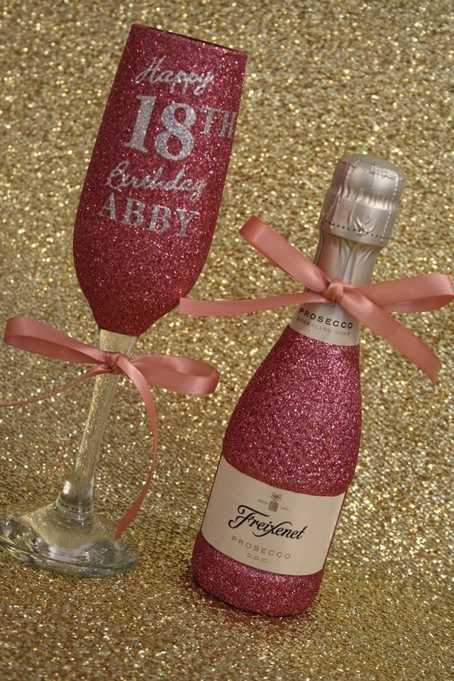 Happy Birthday Champagne Flute with MINI Bottle of Wine, Cava or Prosecco