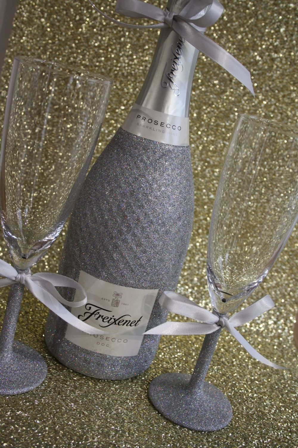 Shimmering Champagne, Prosecco or Cava and Two Champagne Flutes (Stem Only)