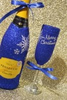"""Snowflake """"Merry Christmas"""" Glass with a Bottle"""