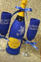 """Snowflake Pair of """"Merry Christmas"""" Glasses with a Bottle"""