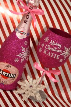 Snowflake Full On Glitz Luxury Large Personalised Glass with a Bottle