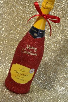 """""""Merry Christmas"""" Bottle of Wine or Bubbles"""