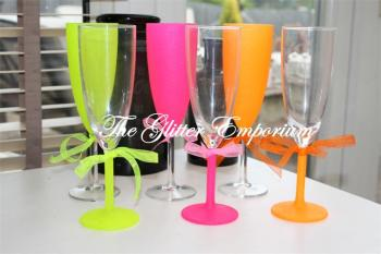 Set of 6 Neon Standard Wine Glasses or Champagne Flutes
