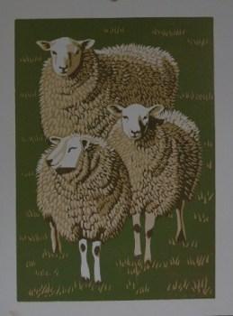 Three sheep reduction print