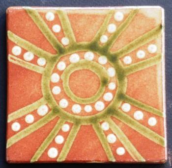 slip trailed tile (M23) slipware tile handmade by Helen Baron