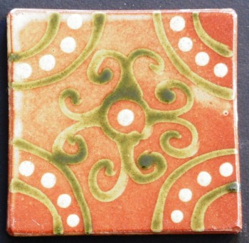 slip trailed tile (M24) handmade by Helen Baron