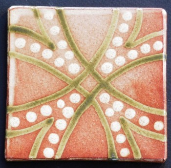 slip trailed tile (M13) handmade by Helen Baron