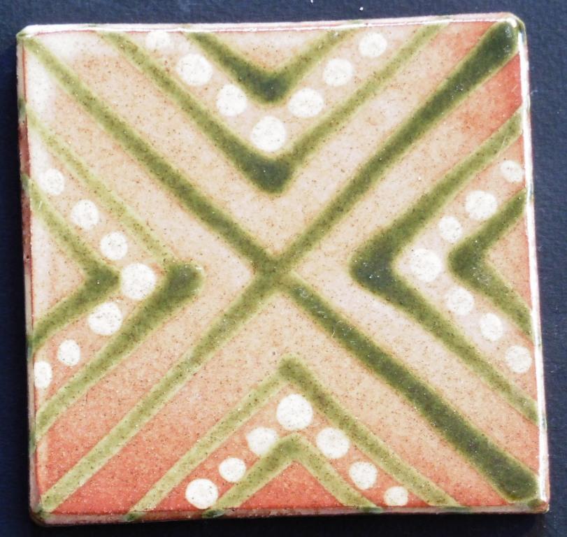 slip trailed tile (44) handmade by Helen Baron