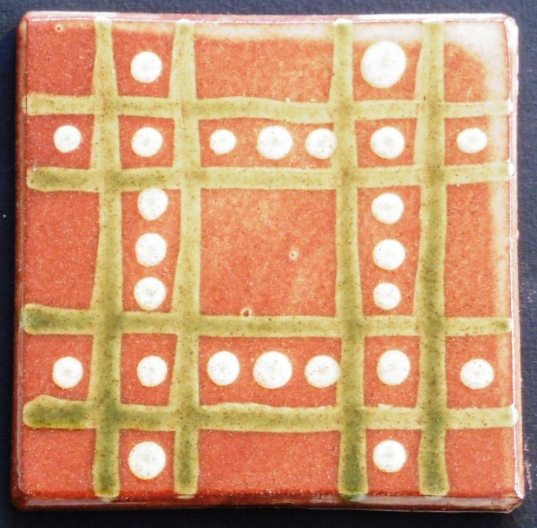 slip trailed tile (45) handmade by Helen Baron