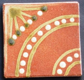 slip trailed tile (C11) slipware tile handmade by Helen Baron