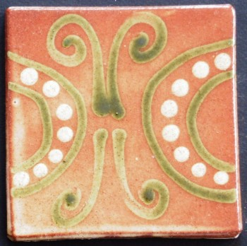 slip trailed tile (R6) handmade by Helen Baron