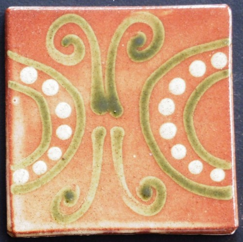 slip trailed tile (21) handmade by Helen Baron