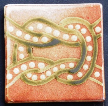 slip trailed tile (R3) handmade by Helen Baron