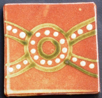 slip trailed tile (R7) handmade by Helen Baron