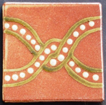 slip trailed tile (R1) handmade by Helen Baron