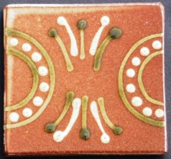 slip trailed tile (R8) slipware tile handmade by Helen Baron