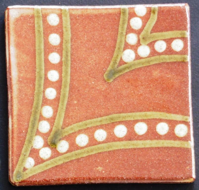 slip trailed tile (27) handmade by Helen Baron