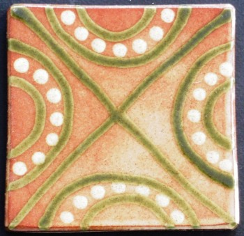 slip trailed tile (46) handmade by Helen Baron