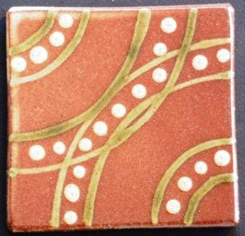 slip trailed tile (M10) handmade by Helen Baron