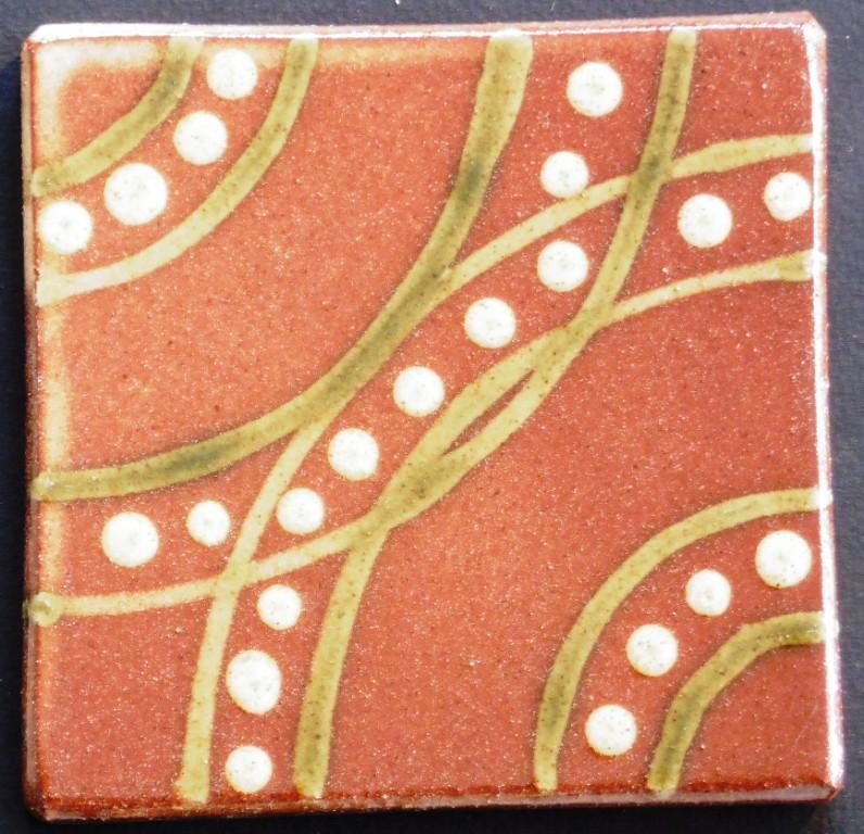 slip trailed tile (47) handmade by Helen Baron