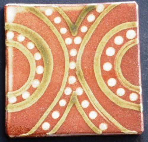 slip trailed tile (48) slipware tile handmade by Helen Baron