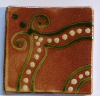 slip trailed tile (C3) handmade by Helen Baron